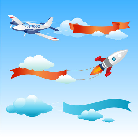 Plane and Rocket Flies with Long Danners for Text on a Background of Sky. vector Illustration