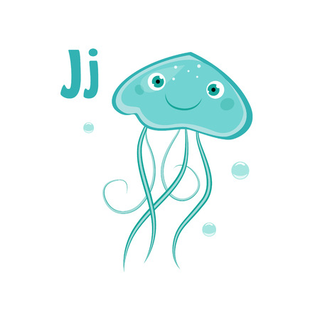 Jellyfish. Funny Alphabet, Colourful Animal Vector Illustration