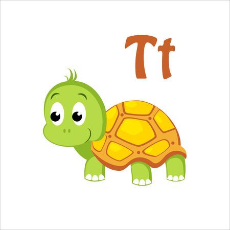 testa: Turtle. Funny Alphabet, Colourful Animal Vector Illustration Illustration