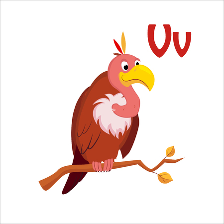 vulture: Vulture. Funny Alphabet, Colourful Animal Vector Illustration