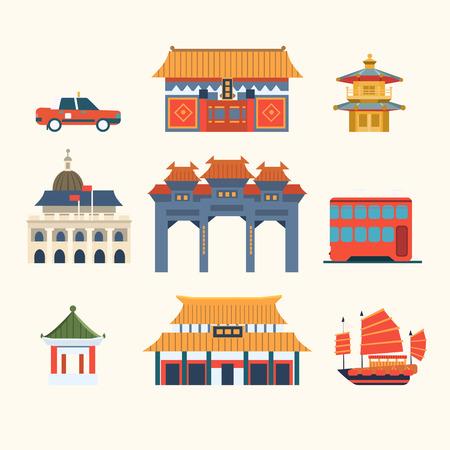 Edificios tradicionales chinos, los elementos de viajes a Hong Kong. Colección de ilustraciones de vectores