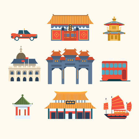 shanghai skyline: Traditional Chinese Buildings, Hong Kong travel elements. Vector Illustration Collection Illustration