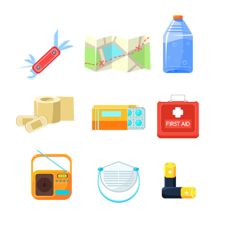 emergency kit: Survival emergency kit for evacuation, Items for Active Rest. Vector Illustration Collection