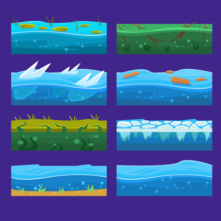 flowing river: Seamless ocean, sea, water, waves vector backgrounds set for UI game in cartoon style Illustration