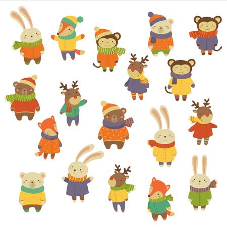 Animals Wearing Warm Clothes. Flat Vector Illustration Set Stock Illustratie