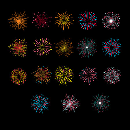 Festive Golden Firework Salute Burst. Vector Illustartion Set