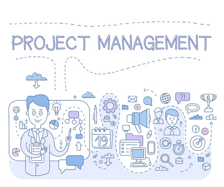 controlling: Doodle style concept of project management, organizing, controlling company resources, risks, achieving project goals. Modern line style illustration for web banners, hero images, printed materials vector illustration