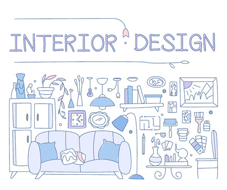 housing style: Interior design, improved interior, apartment, housing. graphic image concept, website layout elements. Linear style hand-drawn