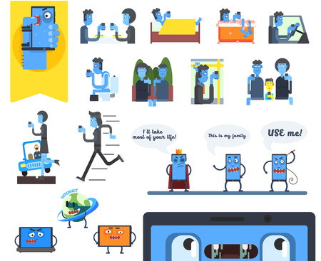 obsessed: Smartphone Addiction Infographics . Flat Vector Illustration Set