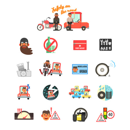 traffic jams: Motorcycle and Car Safety Drive Rules. Flat Vector Illustration Set
