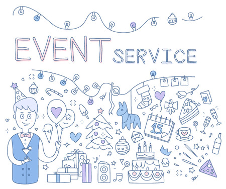 event planning: Event Service. Hand drawn Vector Illustration Doodle style concept. Modern line style illustration for web banners, hero images, printed materials vector illustration