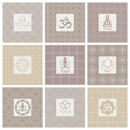 budda: Yoga Icons on Ornament Background. Vector Illustration Collection Illustration