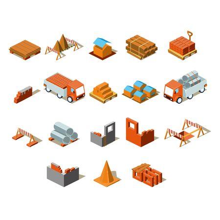 web crawler: Construction project info graphic,detailed isometric vector illustration set Illustration