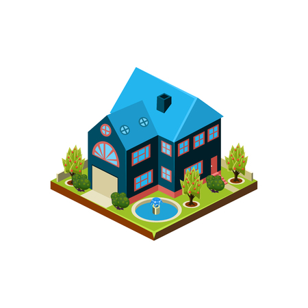 porch: Isometric icon representing modern house with backyard vector