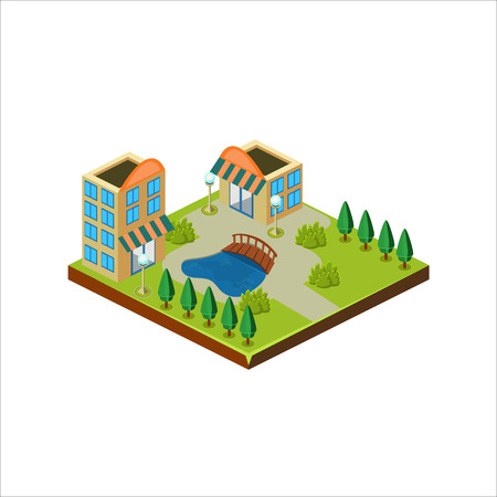 suburban street: Isometric icon representing modern house with backyard vector