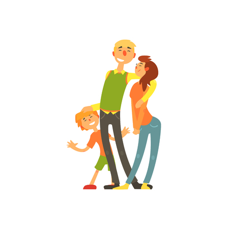 kinder garden: Parents and child, loving Happy young family vector illustration Illustration