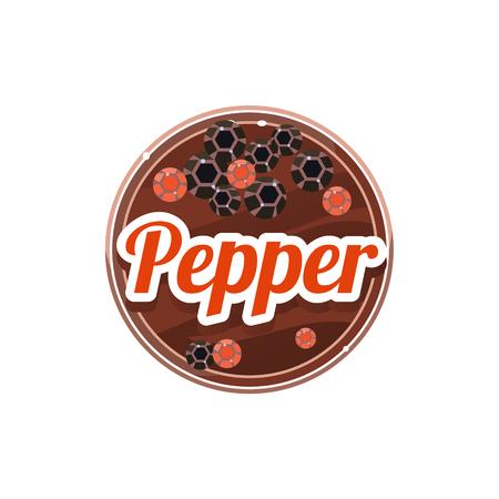 Pepper Spice. Decoratieve vector illustratie. Stickers met houten structuur en de namen van kruiden Stock Illustratie