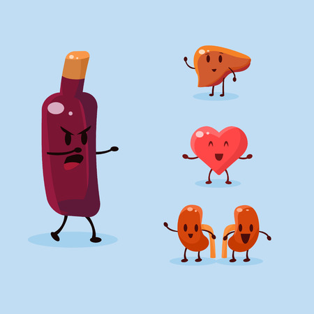 harm: Wine Harm. Vector Illustration Collection Harmful dependence, destruction of internal organs