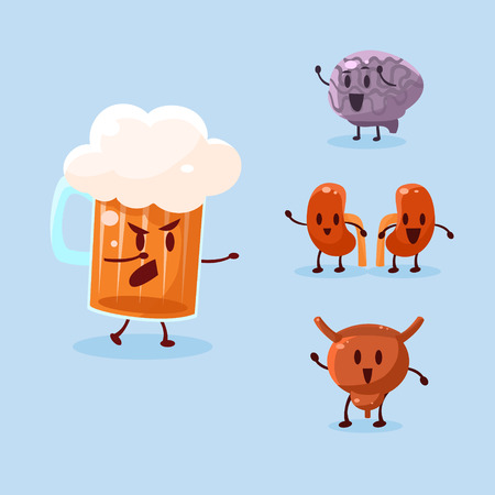 harm: Beer and Alcohol Harm. Vector Illustration Collection Harmful dependence, destruction of internal organs