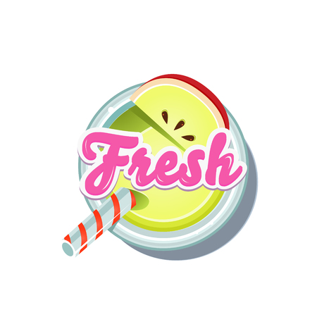 fruity: Apple Fresh. Fruity Vector Illustration isolated on white Background Illustration