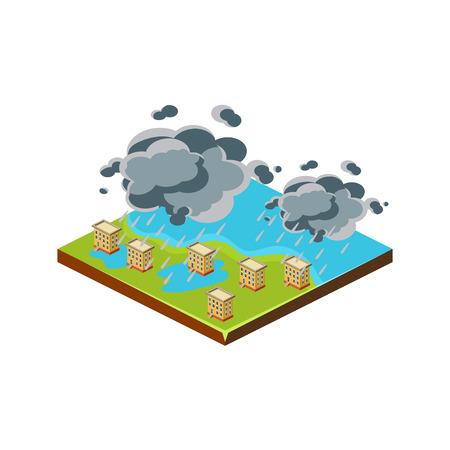 Inundación en la ciudad. Icono de los Desastres Naturales. Ilustración del vector 3d Vectores