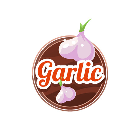 nutmeg: Garlic Spice. Decorative Vector Illustration Stickers with wooden texture and names of spices Illustration