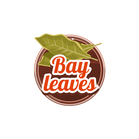 indian spices: Bay Leaves Spice. Decorative Vector Illustration Stickers with wooden texture and names of spices