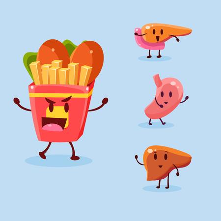 dependence: Unhealthy Food Danger. Vector Illustration Collection Harmful dependence, destruction of internal organs