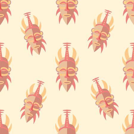 pastel shades: Tribal Mask. Seamless Pattern. Vector Illustration Pastel shades background