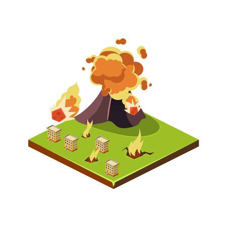 eruption: Volcano Eruption Danger. Natural Disaster Icon. 3d Vector Illustration Illustration