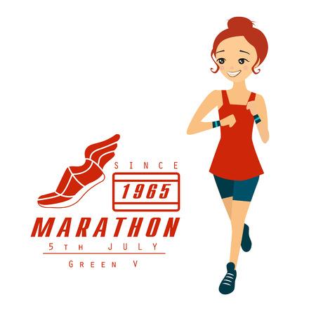 sporty: Marathon Running Woman Cartoon Vector Illustration banner Illustration