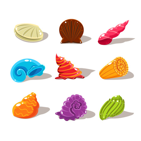 snails: Sparkling Cartoon Sea Shells. Vector Illustration Collection Illustration