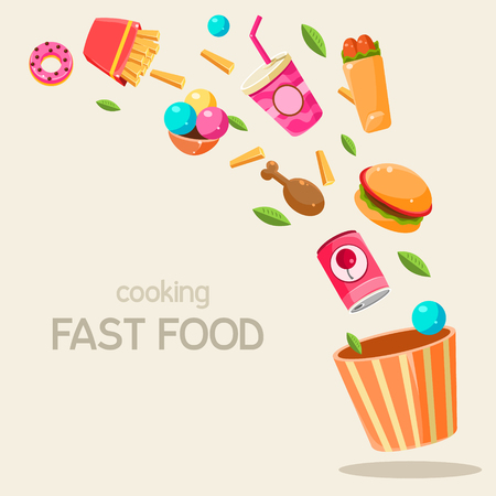 canned drink: Flying Fast Food Vector Illustration Infographic. Banner with fast food Illustration