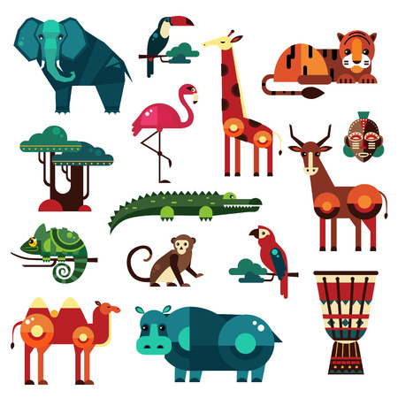 africa continent: Africa and Savanna Animals Vector Illustration Set