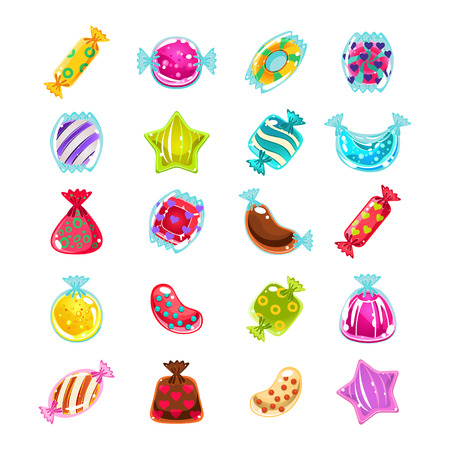 Bright Colorful Glossy Candies with Sparkles. Vector Illustration Collection
