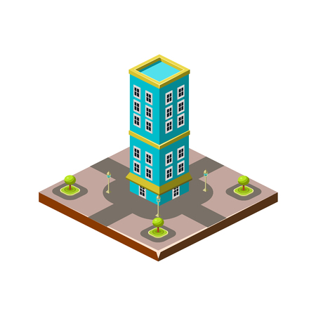 front porch: Isometric icon representing modern house with backyard vector