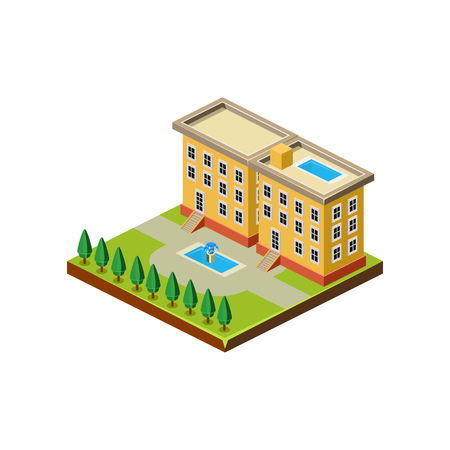 3d bungalow: Isometric icon representing modern house with backyard vector