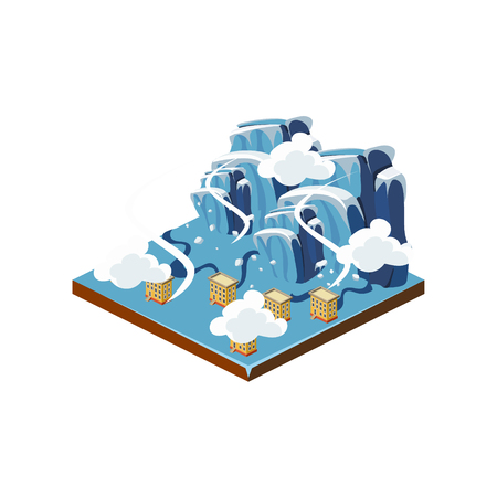 sleet: Icing Natural Disaster Icon. 3d Vector Illustration