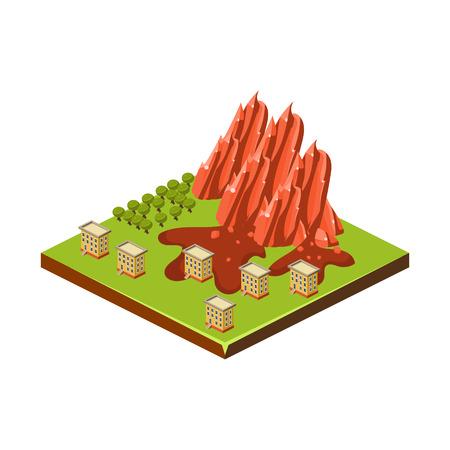 rockslide: Mudslide. Natural Disaster Icon. 3d Vector Illustration