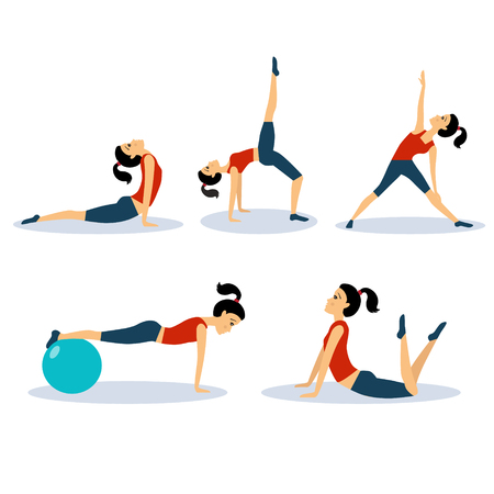 flexible woman: Fitness Women Workouts Set. Vector Illustration Collection Illustration