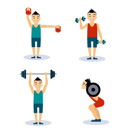 workouts: Fitness Man Workouts Set. Vector Illustration Collection