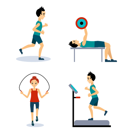 workouts: People Workouts Set. Vector Illustration Collection Flat style
