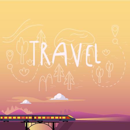 morning: Train Summer Travel Landscape Vector Illustration Trip collection Illustration