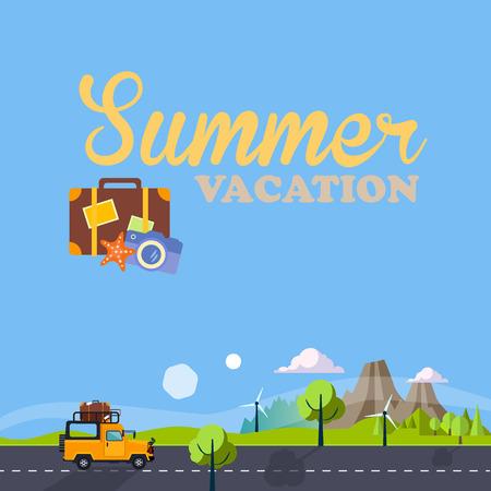 Summer Vacation Landscape. Vector Illustration Trip collection