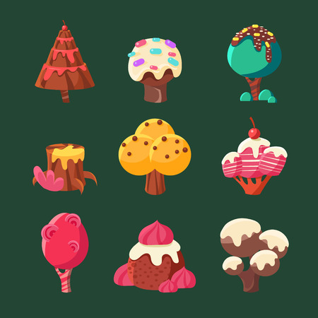 cartoon cake: Cartoon Sweet Candy Land Collection. Vector Illustration Set