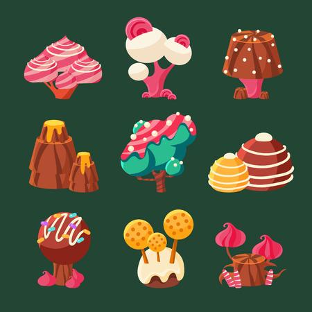 mushroom: Cartoon Sweet Candy Land. Vector Illustration Set Illustration