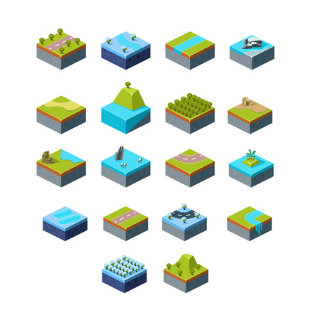 flor: Vector of Isometric Landscape set modern style Illustration