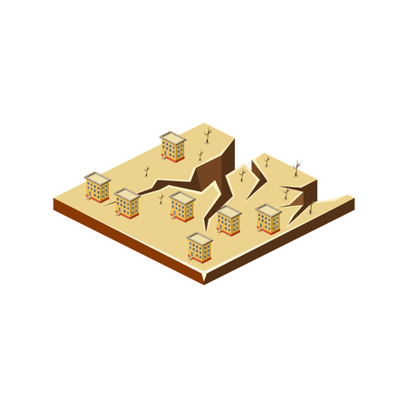 natural disaster: Earthquake. Natural Disaster Icon. 3d Vector Illustration