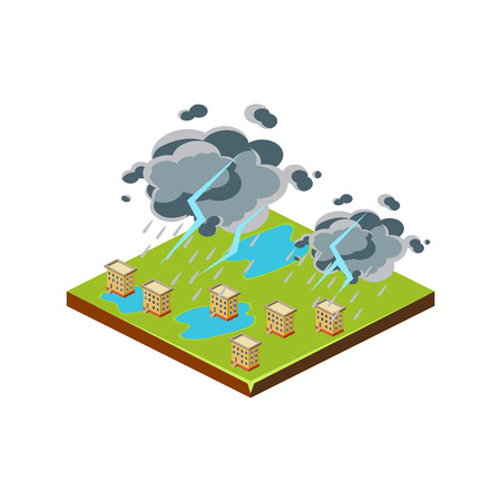 drench: Thunderstorm. Natural Disaster Icon. 3d Vector Illustration