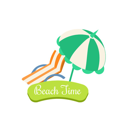 deck chair isolated: Beach Time. Summer Vacation. Bright Vector Illustartion